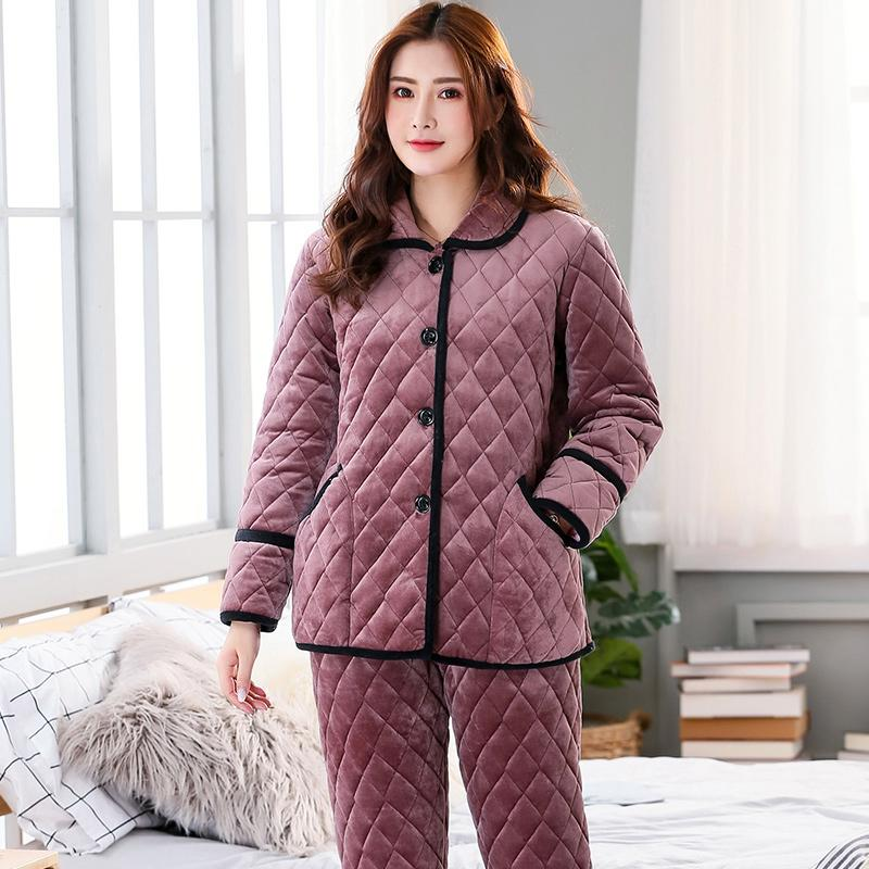 64d73332c0 2019 Winter 3 Layers Quilted Pajamas Set Women Long Sleeve Thick Quilted  Jacket + Pants Coral Velvet Pyjamas Women Pijamas Para Mujer From Kariok