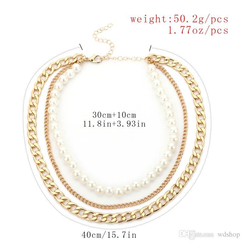 Collana a catena a catena corta di modo della collana del choker delle perle d'imitazione multistrato i monili di dichiarazione delle donne Trasporto libero