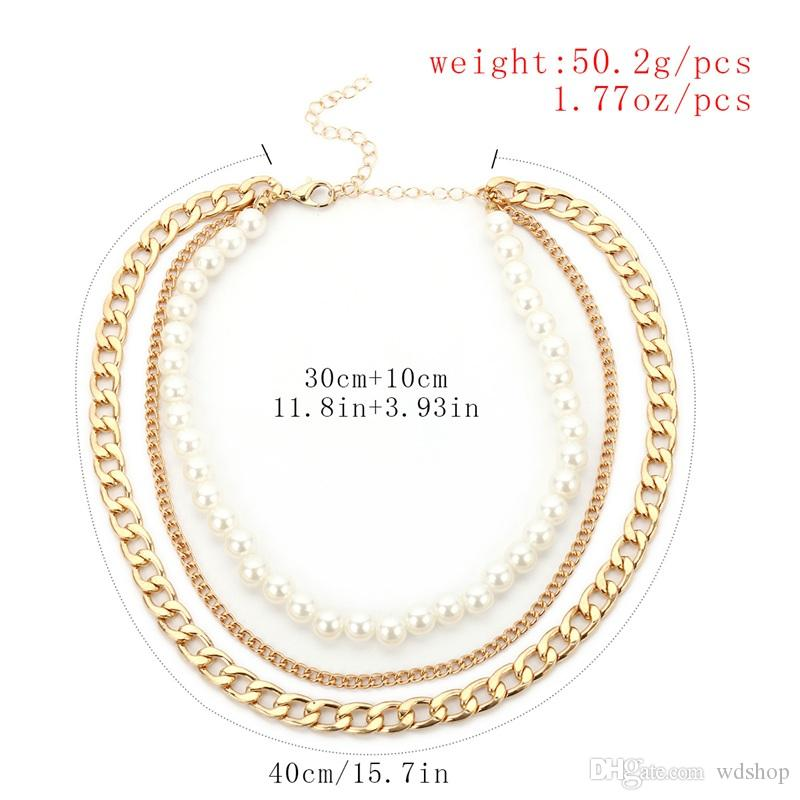 Multi-Layer Imitation Pearls Choker Necklace Fashion Short Chain Necklace For Women Statement Jewelry