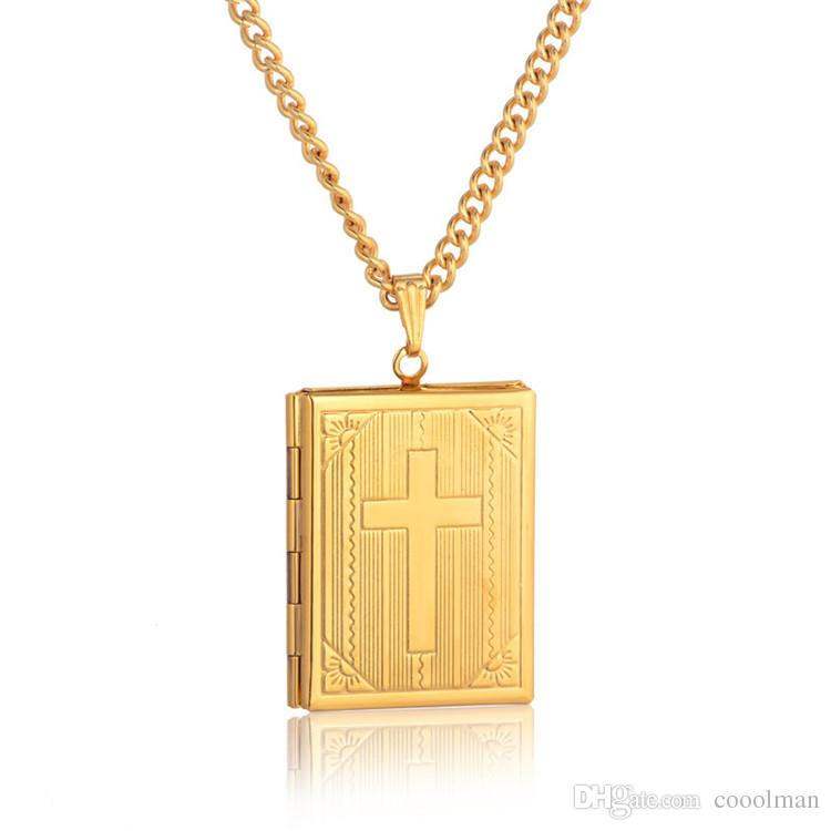 896d310db70 Wholesale Fashion Bible Cross Locket Necklace Gold Color Crucifix Jewelry  Memory Photo Box Locket Necklaces Pendants For Women Men Gift Snowflake  Pendant ...