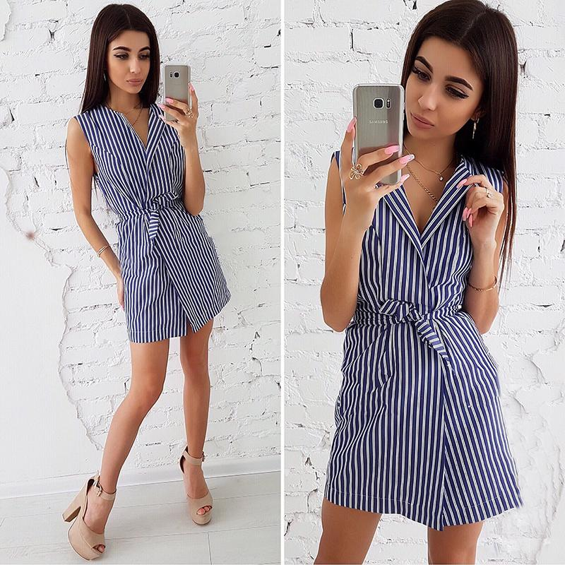 2f65e545b9 Fashion Women Blue White Striped Summer Dress 2018 Sexy V Neck Sleeveless  Shirt Dresses New Arrival Casual Female Party Dress Women Floral Dresses  Casual ...