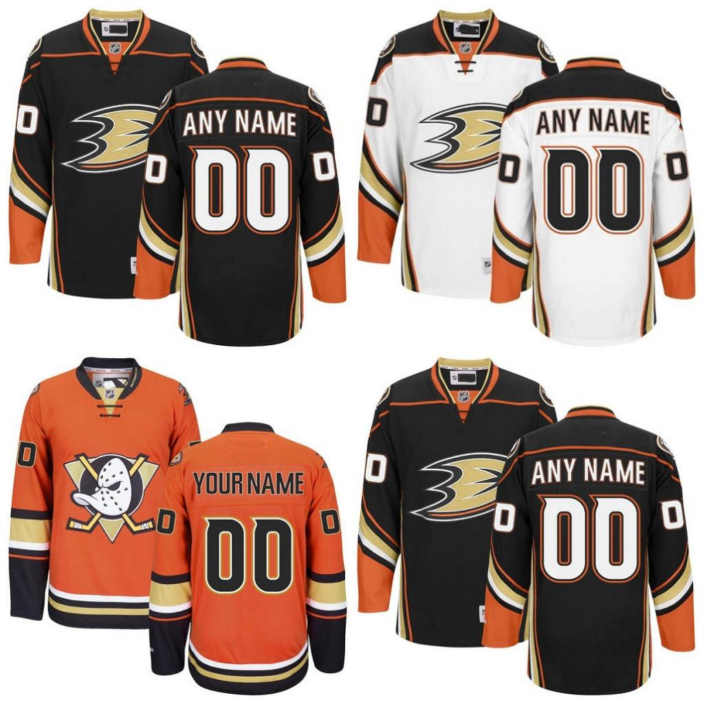 reputable site b97b8 44d9a Customized Anaheim Ducks Jerseys White Black Orange Jerseys Custom Mighty  Ducks Of Anaheim Authentic Ice Hockey Jerseys Stitched Personalize