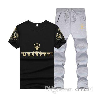 Été Hommes Sport Survêtement MRSREATI Imprimé Slim Refroidir à manches courtes T-shirt avec un pantalon joggeurs costume décontracté
