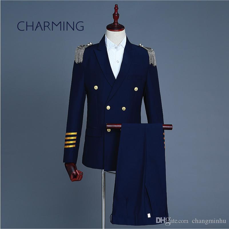 Captain Uniform Double Breasted Suit Set Mens Fringe Epaulet