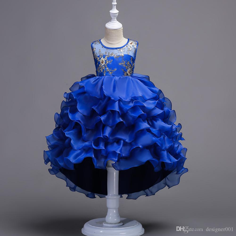 958cfbaea45a 2018 In Stock Princess Blue High Low Girl Pageant Gown Tiered ...