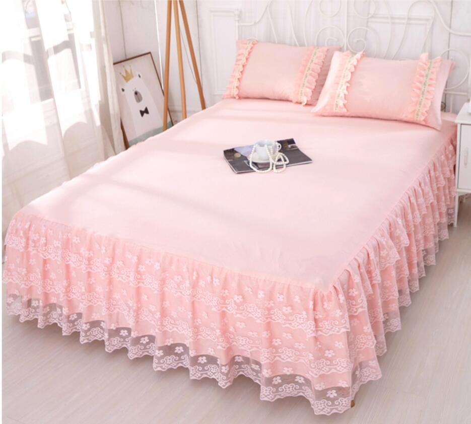 Pink Lace Bedding Bed Skirt 1 Romantic Princess Bedspread Girls Bed