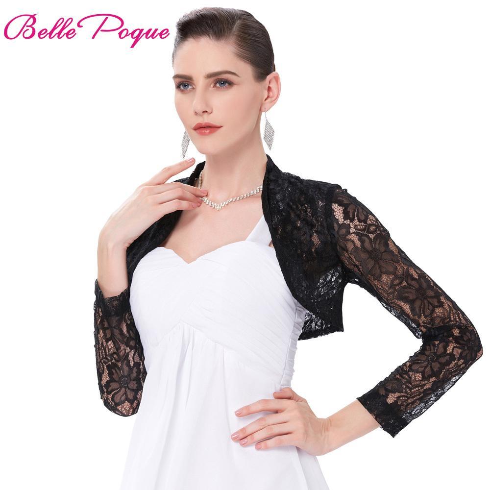 fe98f6fa7c5e Bolero de encaje blanco sexy negro elegante damas encogiéndose de hombros  de manga larga más tamaño S-3XL boda de noche de baile recortada encaje ...