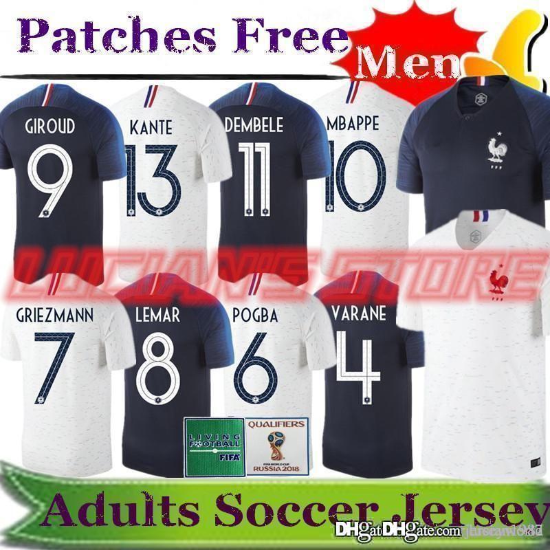 Tailandia Francia Camisetas De Fútbol 2018 Copa Del Mundo Maillot De Pie  Griezmann 7 Pogba 6 Mbappe 10 Kante Jerseys De Fútbol Dembele Camiseta De  Fútbol ... 244712e361590
