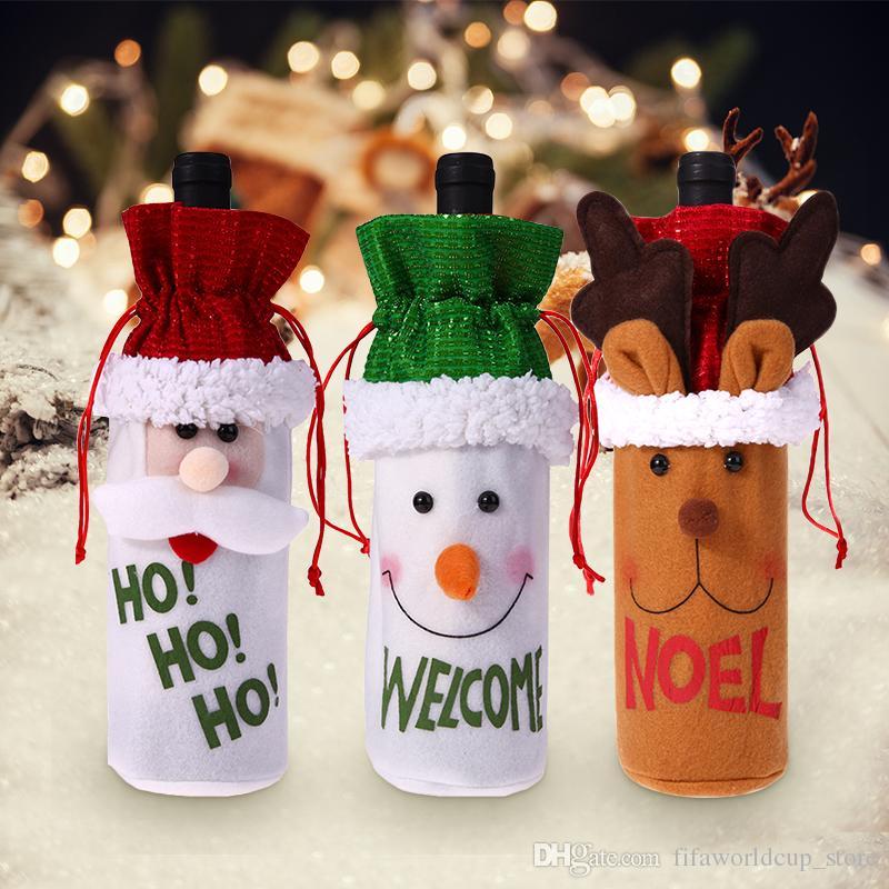 Christmas Wine Bottle Decor Cover Set Santa Claus Snowman Deer
