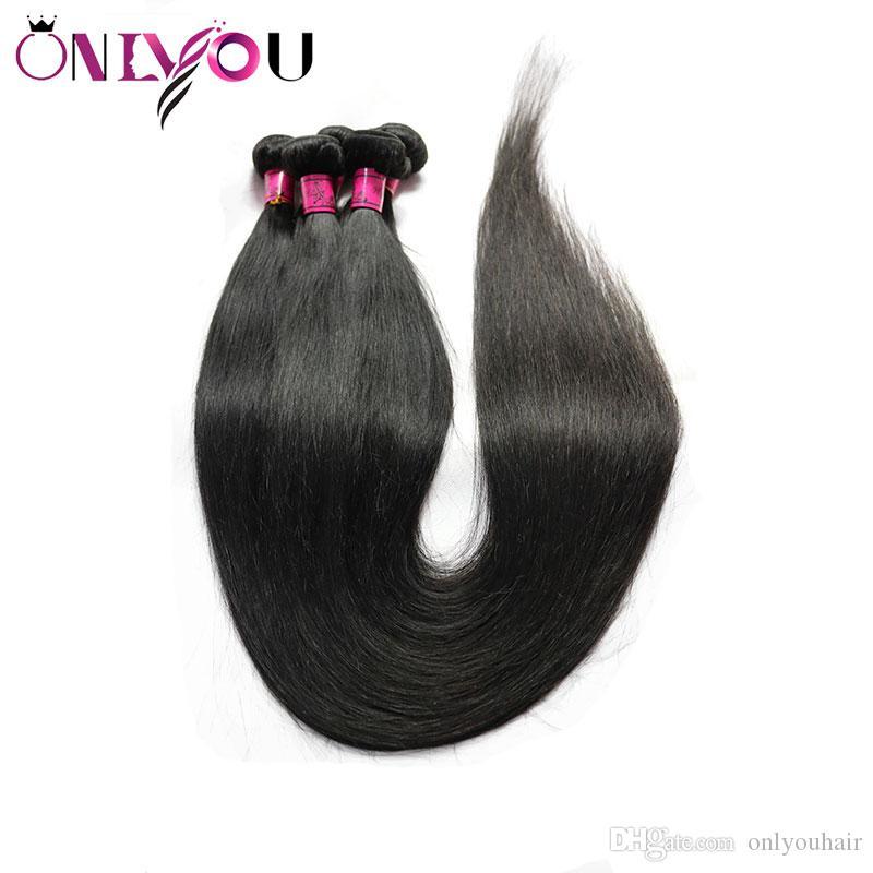 9a Brazilian Virgin gerade Menschenhaar 4 Bündel 30 inch Rohboden 32 34 36 Zoll Peruvian Menschliches Haar Weave Bundles Wet Gewellte Extensions