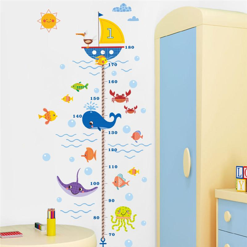 cartoon shark fish boat height measure wall sticker for kids room