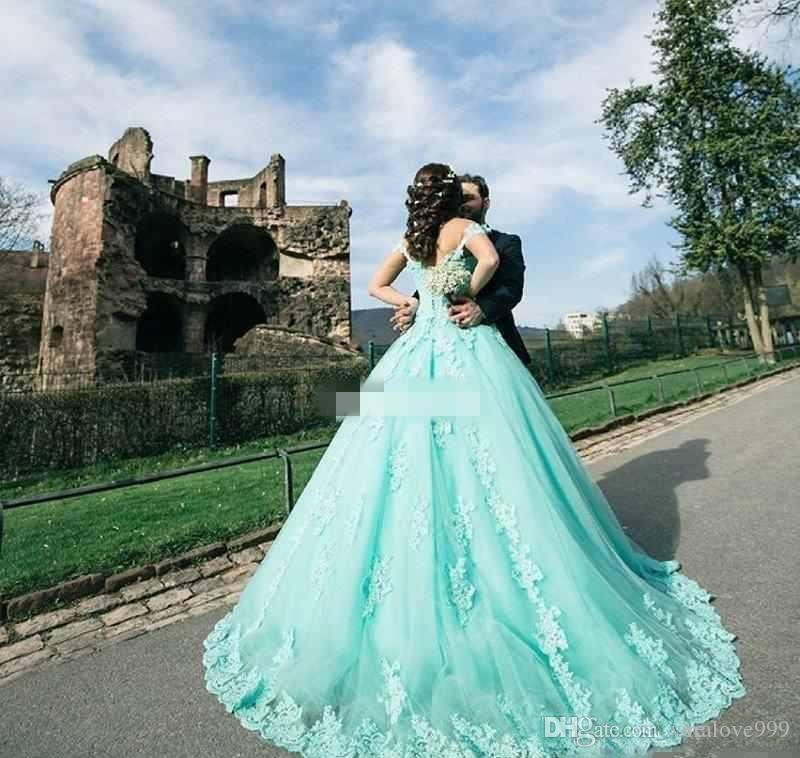 2017 Mint Saudi Africa Quinceanera Kleid Prinzessin Puffy Spitze Applique Sweet 16 Alter Lange Mädchen Prom Party Pageant Kleid Plus Größe Nach Maß