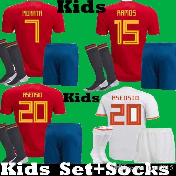 267f0336c Compre Crianças 2018 2019 Espanha Copa Do Mundo Asensio ISCO RAMOS MORATA  Crianças Camisas De Futebol Conjunto Uniforme 18 19 Kits PIQUE INIESTA  PIQUE ...