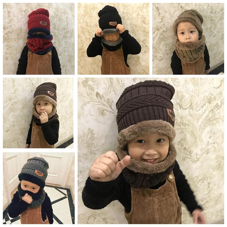 df7ff14cfcaf3c 2019 Boys Winter Knitted Beanie Hat And Scarf Set Toddler Kids Warm Fleece  Mask Balaclava Cap Outdoor Skiing Sports Scarf GGA1070 From B2b_life, ...