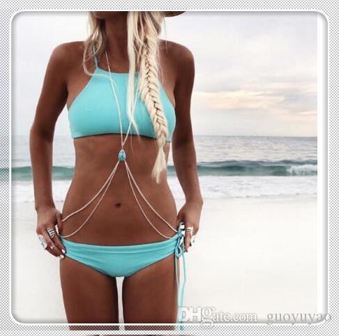 Lady Gypsy Body Chain Boho Donna Sexy Belly Bikini con catena a catena con Retro White Blue Stone
