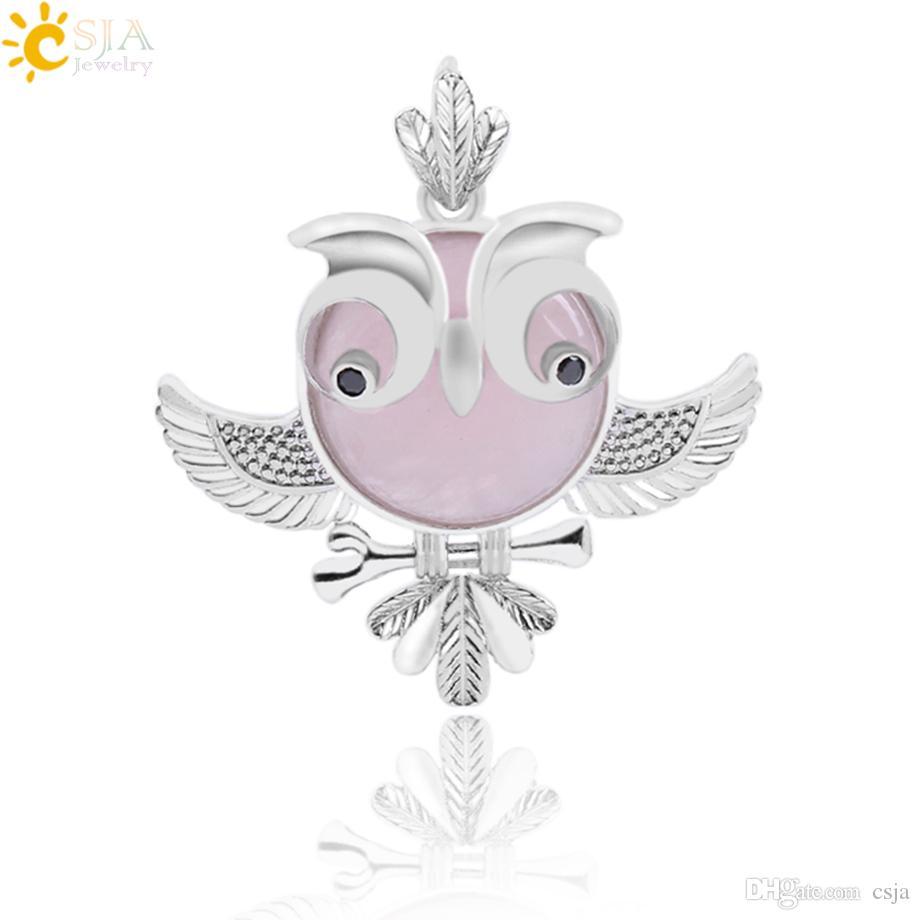 Csja Natural Round Gemstone Owl Bird Necklace Pendants Opal Purple
