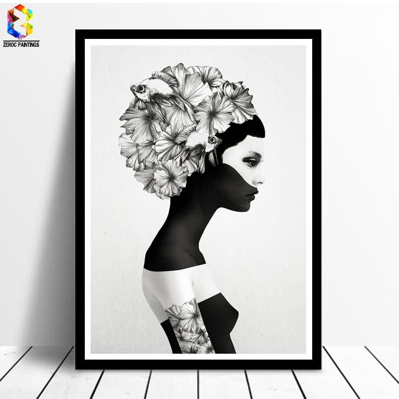 27fbe2eb8 2019 Nordic Decoration Flower Poster And Prints Girl Canvas Painting Black  White Marianna Wall Art Picture For Living Room Home Decor From Merlle, ...