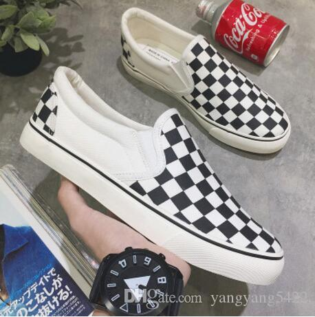 new canvas casual shoes low heeled flat black and white