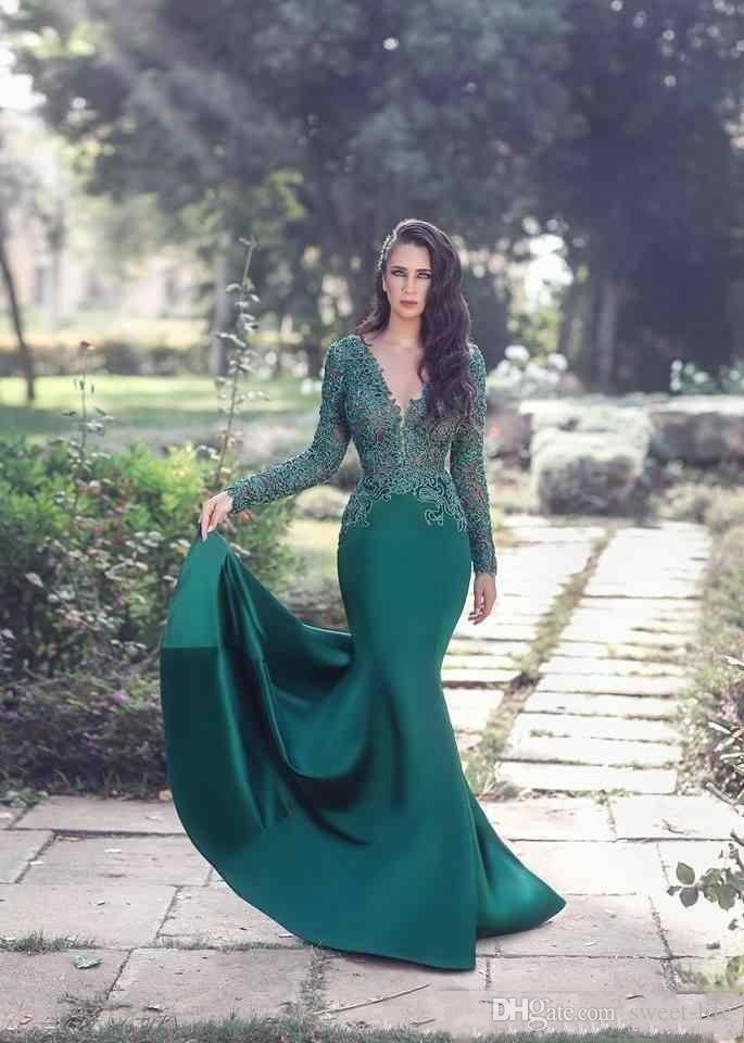 2018 New Sexy Emerald Green Prom Dresses V Neck Long Sleeves Illusion Mermaid Lace Appliques Beaded Satin Evening Dress Cheap Party Gowns