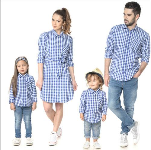 19cd09f6d2de Hot Blue Plaid Couple T Shirt Father Mother Son Daughter Matching Shirts  Family Outfit Tops Clothes For Family Portraits Mom And Child Matching  Clothes From ...