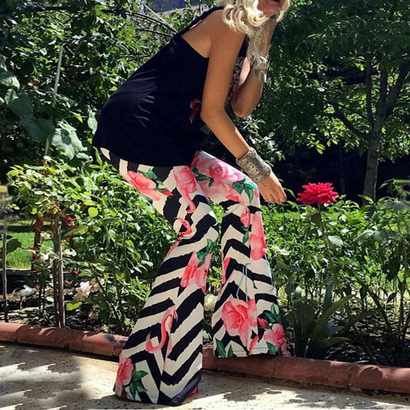 여름 여성 캐주얼 바지 꽃 무늬 패션 프린트 허리 와이드 와이드 레그 롱 바지 Boho Vintage flare Palazzo Trousers 6 색