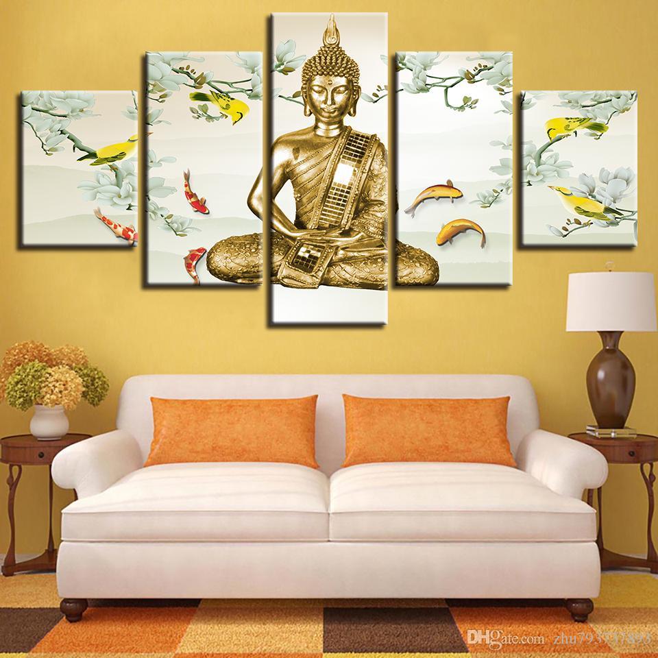 Printed Wall Art 5 Pieces Carp And Buddha\'S Meditation Canvas ...