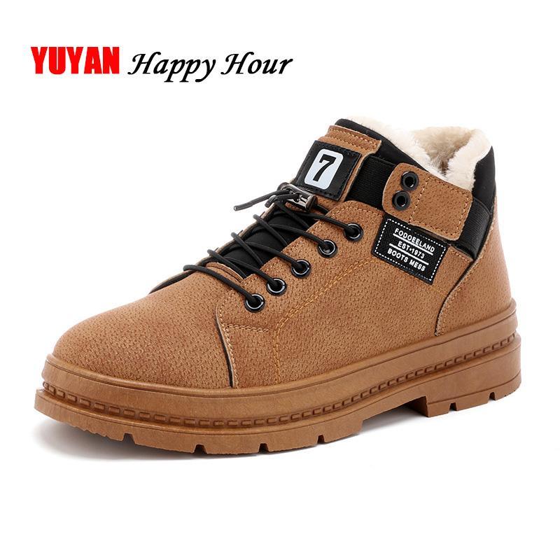97b51e677 Compre Zapatos De Invierno Para Hombre Botas De Cuero De Felpa Cálida Para  El Frío Invierno Gruesa Suela De Marca Para Hombre Botas Zapatos Casuales  KA514 A ...