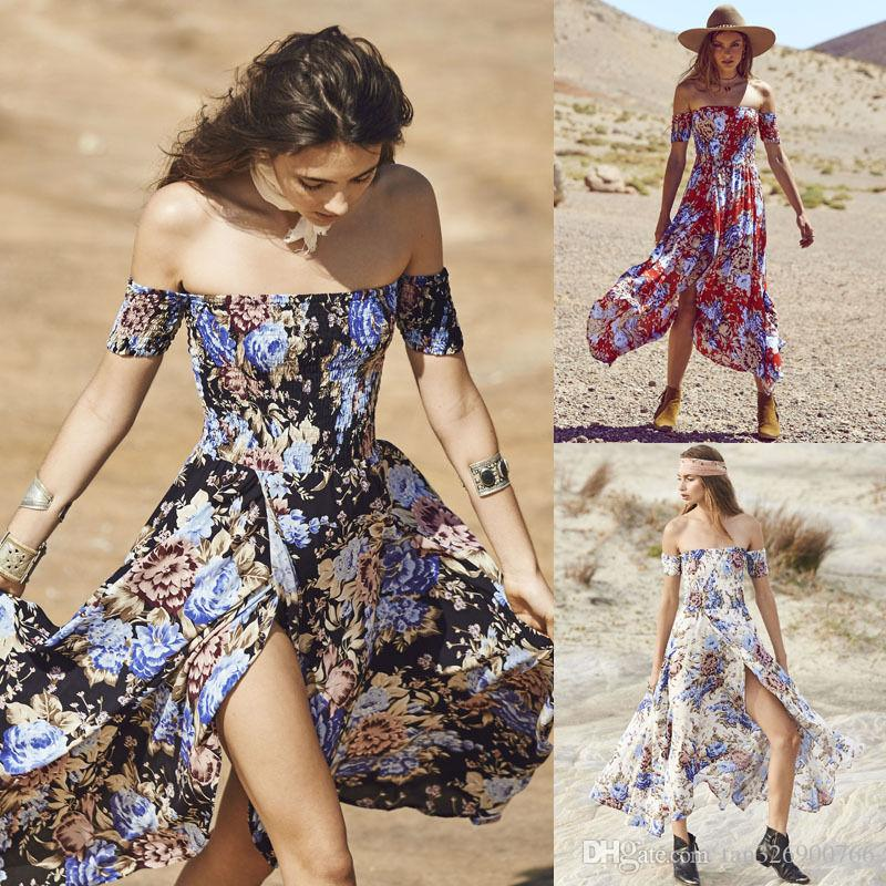 Dresses Women Bohemian Beach Dress Summer Floral Lady Boho Flower Dress Girls Print Long Maxi Dress Fashion Sleeveless Chiffon