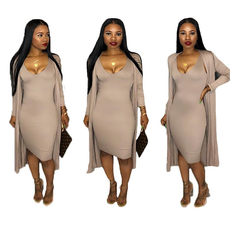 671be846c00 Casual dresses sexy solid color Sleeveless dress + Long Sleeve Cardigan  coat jacket Bandage Bodycon Dress women two-piece set 810