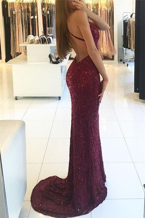 Sexy Backless sirène Bourgogne Robes de bal long col en V 2018 dentelle Sequin Robe de soirée Custom Made Party Robes
