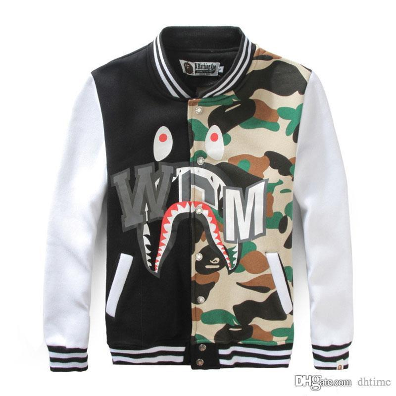 adde3d6469a11 Fashion Men's Hip Hop Baseball Clothing Camouflage Splice Loose Jacket  Student Long Sleeve Baseball Jacket Men Women Cardigan Jacket To Teenager  Hip Hop ...