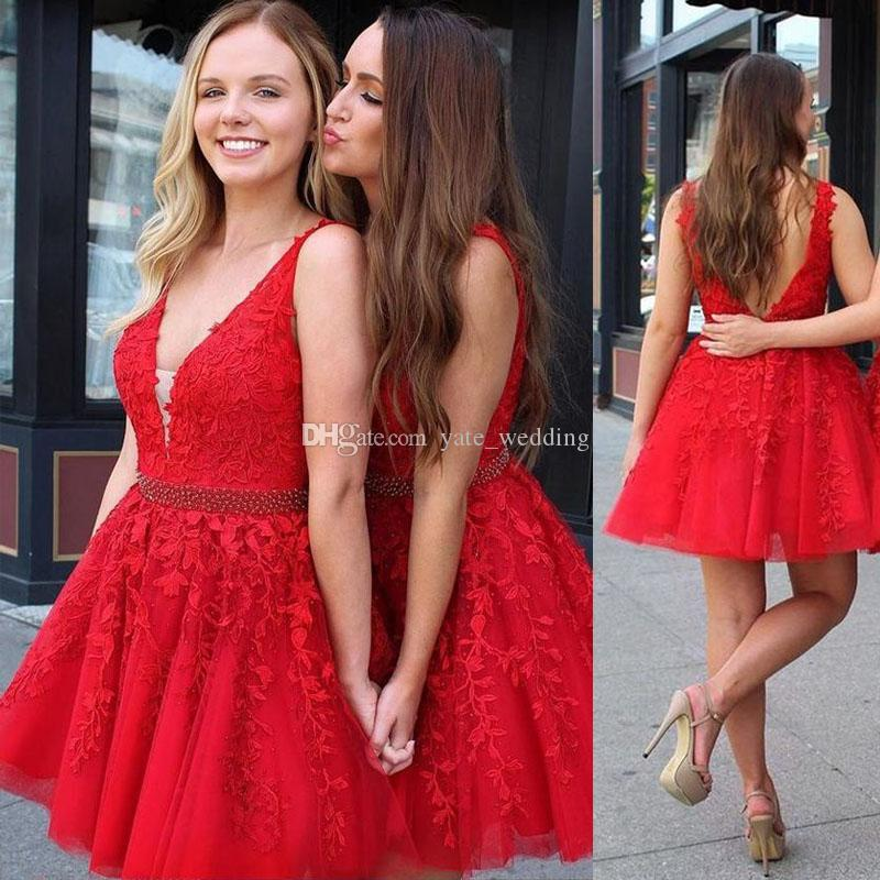 Red Lace Tulle Short Homecoming Dresses V Neck Sheer Straps Beading Plus Size Backless Short Prom Dresses Cocktail Party Dresses