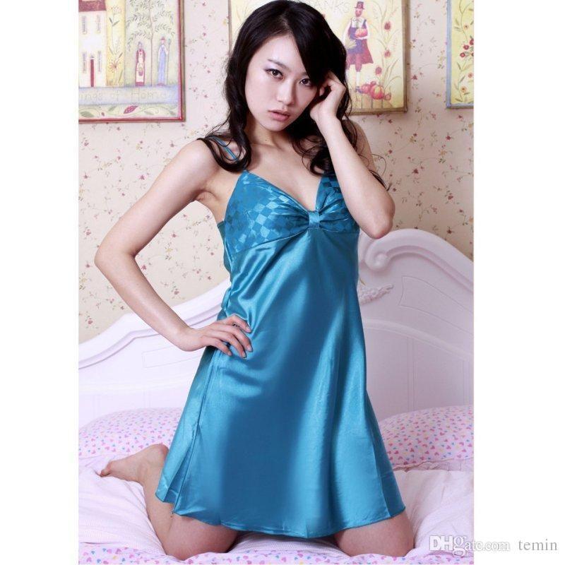Wholesale- Women Sexy Lingerie Robe Dress Nightwear Underwear Satin Lace  Lady Sleepwear Sleepwear Ladies Underwear Clip Underwear Hands Online with  ... db559e548