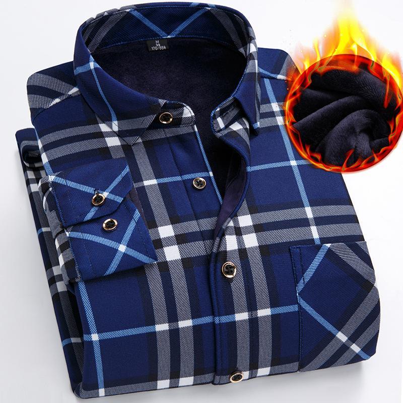 Herbst Winter Neue Warmes Hemd Mit Langen Ärmeln Dicke Daunenmänner Mittleren Alters Papa Kariert Fett Große Größe Hemden Männer Schwarz Blau