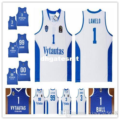 2018 Cheap Custom Lamelo Ball  1 Liangelo Ball  3 Lithuania Vytautas  99  Lavar Ball Basketball Jersey Stitched Mens White Blue Jerseys From  Xiaocai5678 98c44a4c5