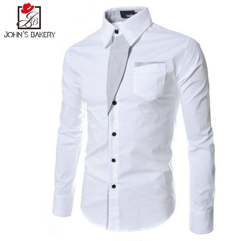 5cb096fed6d Nova Marca 2017 Camisas de Vestido Dos Homens Listrado Camisa de Algodão  Slim Fit Chemise Camisa de Manga Longa Homens Camisas Modelo Branco Plus  Size 3XL