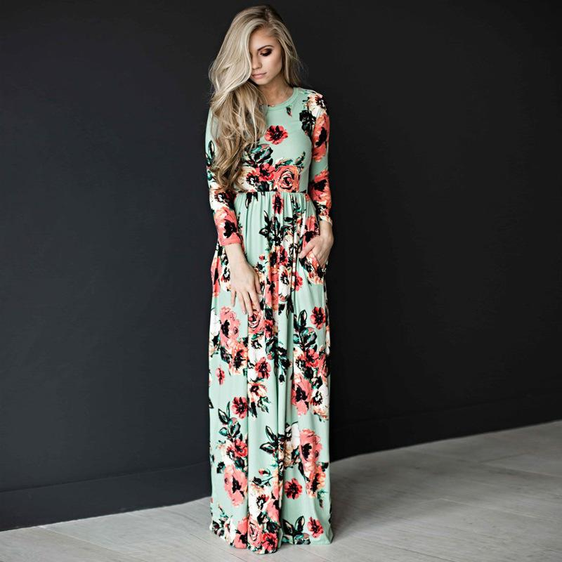 73fe5ec22cf7 2019 Women Sexy Long Sleeve Summer Fashion Style Long Party Dress Leisure  Female Floral Print Dress Ladies Maxi ZLD718 From Candd
