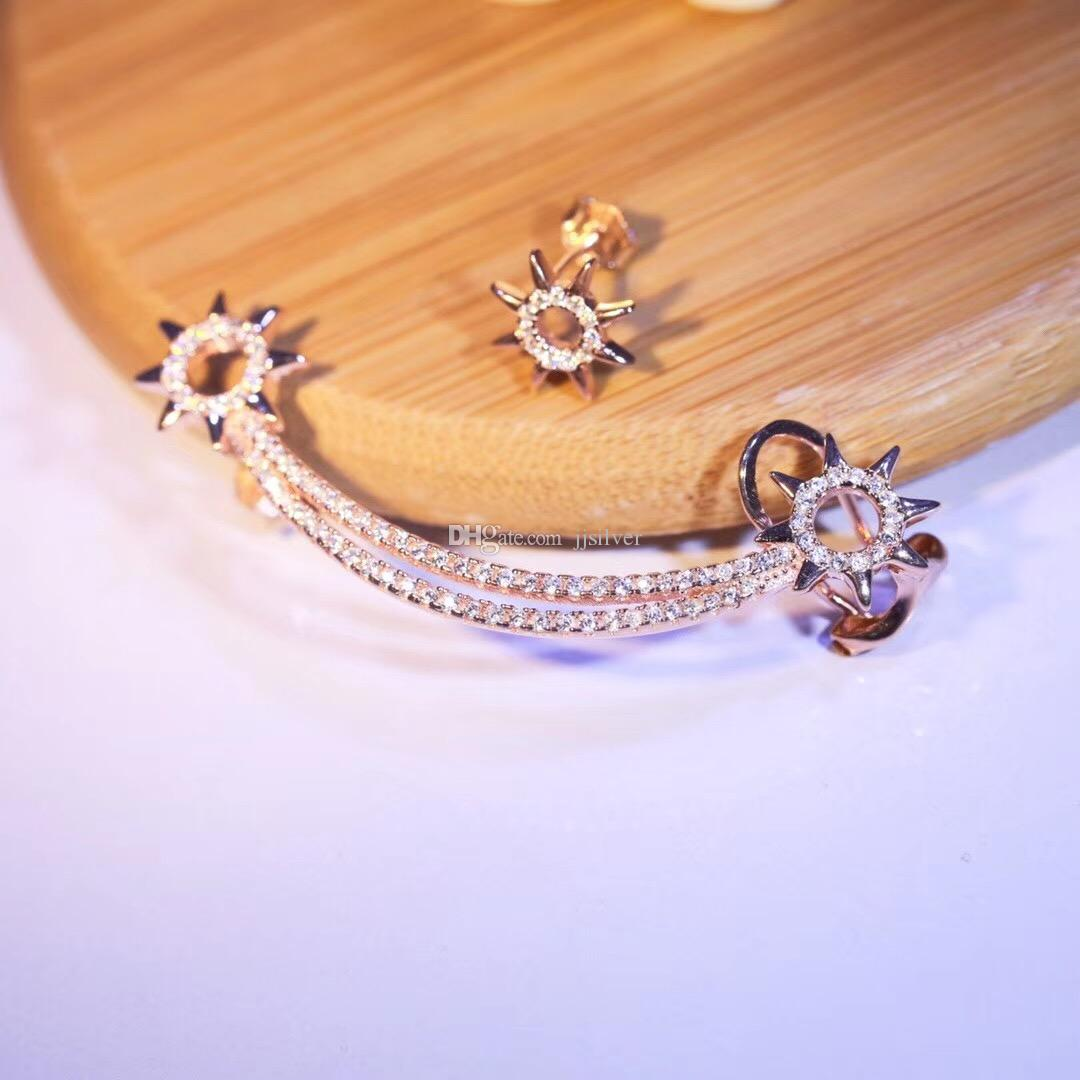 Gümüş Lüks Kristal Yıldız Kulak Manşet Trendy Kişilik Güneş Klip Küpe Kadınlar Kar Tanesi Zarif Kulak Piercing Takı Brincos Bijou