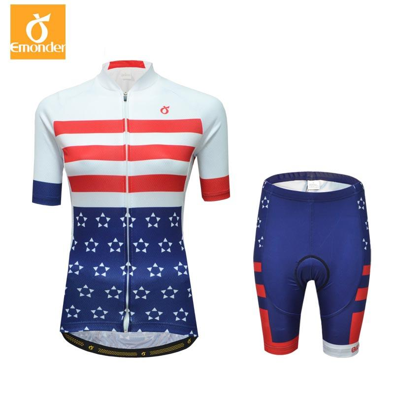 EMONDER Pink Short Sleeve Cycling Jersey Set Women Summer Quick-Dry ... b200ed420