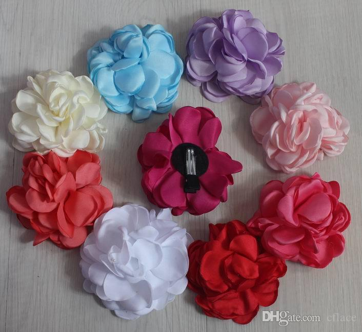 8cm chic decorative satin fabric clip flower for girls hair accessories,soft satin fabric hair clip flowers for babies