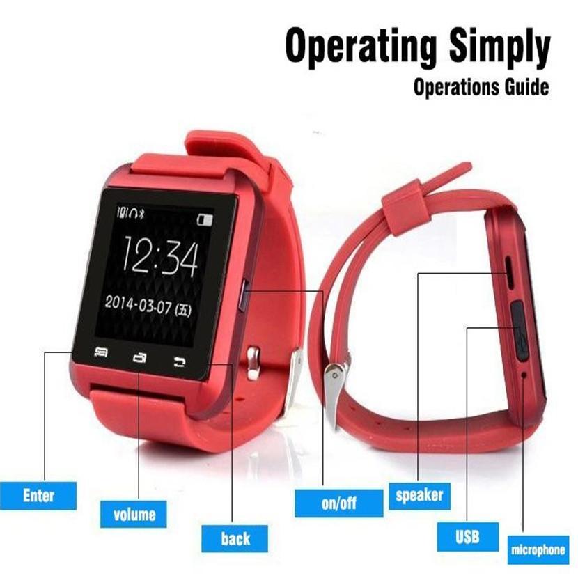 U8 bluetooth smart watch relógios de pulso de tela de toque para o iphone x ios Samsung s8 android phone smartwatch de dormir de tela com o pacote de varejo