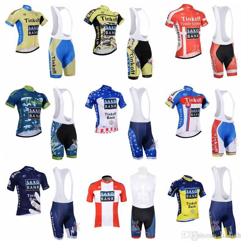 Pro Men Team 2018 SAXO BANK TINKOFF Cycling Jerseys Sets Bicycle Clothes  Breathable Short Sleeves Shirt MTB Bike Bib Shorts F1201 Bicycle Apparel  White ... 5753b629b