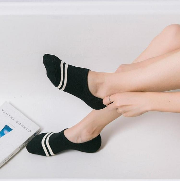 Socken Schiff Knöchel Baumwolle Polyester für Damen Mädchen Frauen weiblich 20-24,5 cm frei Größe zwei Streifen Silikon Antislip