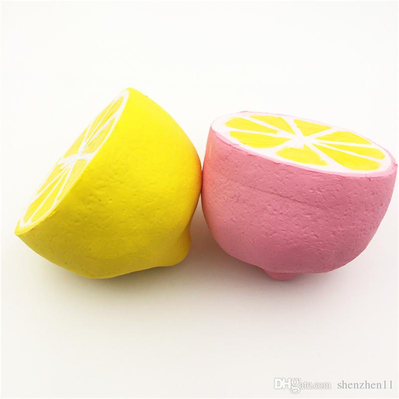 Jumbo Slow Rising Squishy Citrus Lemon Kids Soft Phone Pendant Fruit Simulation Squeeze Perfume Slow Rising Anti Stress Squishies Toy OTH032