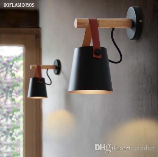 Le Led Abajur Murales Pour Light E27 En Nordique Appliques Bois Applique Murale Noir Ceinture Blanc Salon dhQrts