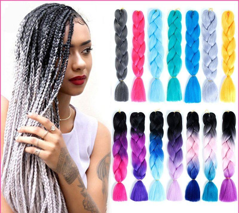 Hair Braids Just Lisi Hair Ombre Kanekalon Jumbo Synthetic Braiding Hair Crochet Jumbo Hairstyle Blonde Pink Blue Grey Hair Extensions Jumbo Braids