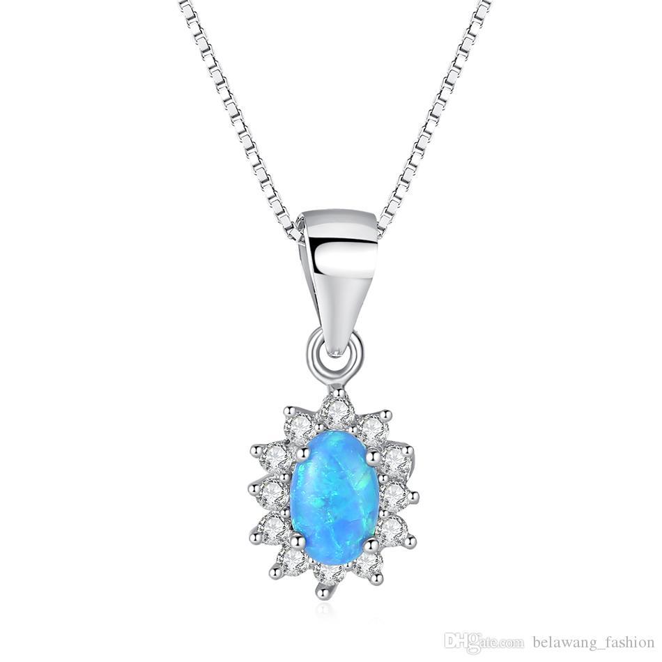 ea2d0fa439a6 Compre BELAWANG 2018 Nuevo Azul Colgante De Ópalo Collar Real 925 Collar De  Plata Esterlina Para Las Mujeres De Lujo Joyería De La Boda De Regalo A   9.56 ...
