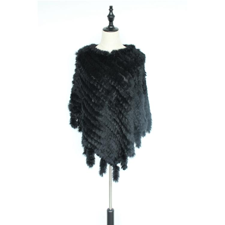 2018 new fashion women genuine knitted natural rabbit fur poncho with tassels capes and wraps real fur shawl for female black
