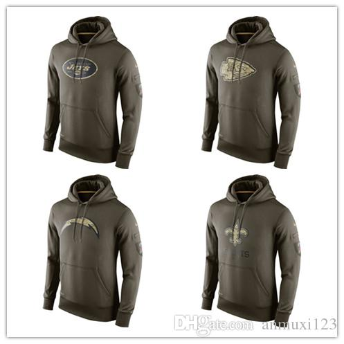 online store 2d1c2 eeb81 New York Kansas City San Diego 100% Cotton New Orleans Sweatshirt Jets  Chiefs Chargers Saints Olive Salute To Service Hoodie