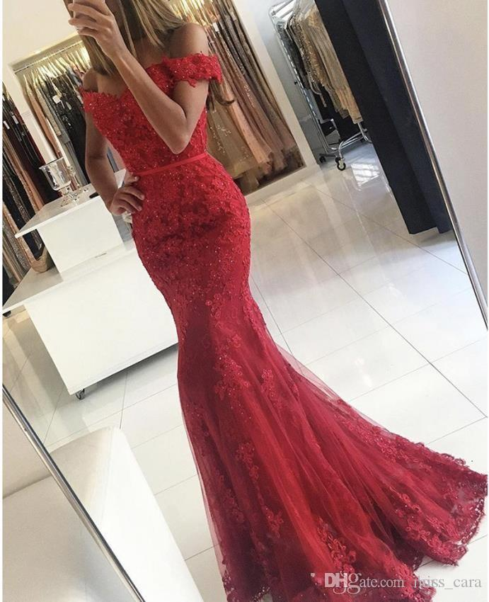 Vintage Mermaid Red Prom Dresses Evening Wear Long Vestidos De Fiesta Off Shoulder Applique Short Sleeve Lace Party Gowns